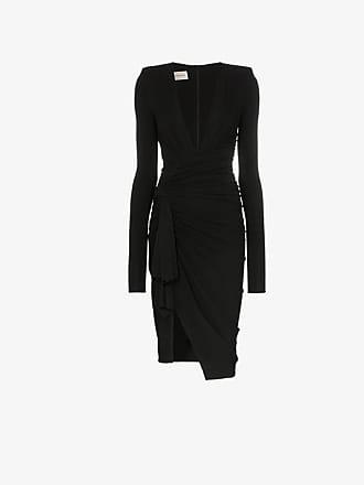 acff1956c445 Alexandre Vauthier deep V gathered waist padded shoulder midi dress