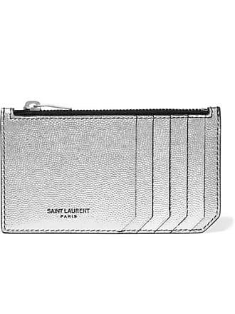Saint Laurent Metallic Textured-leather Cardholder - Silver