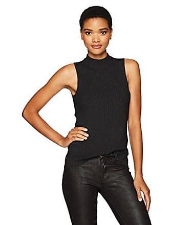 Calvin Klein Jeans Womens Sleeveless Mock Neck Pullover Top, Black, X-Large