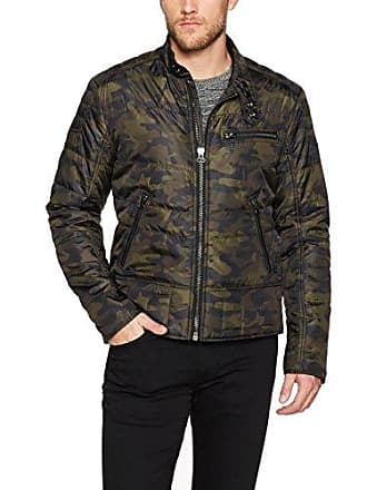William Rast Mens Ratso Quilted Moto Jacket, Dusty Olive, Medium