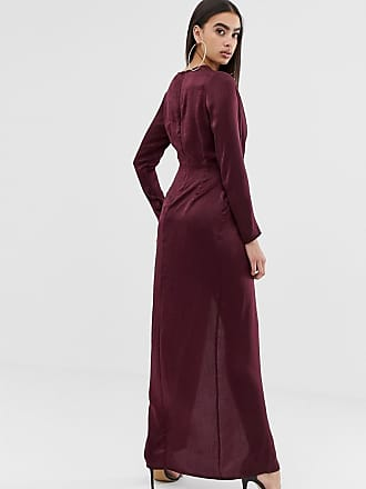 f9a0049af6d Missguided satin maxi dress with twist front and split in burgundy - Red