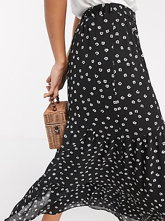 Y.A.S midi skirt in black ditsy floral-Multi