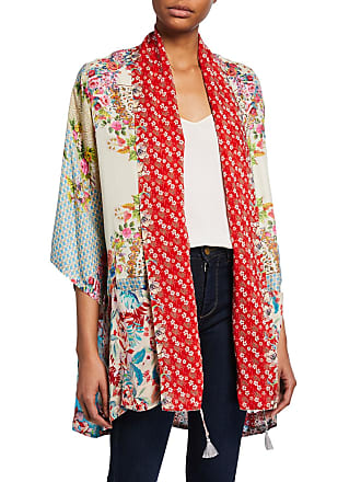 e9c93b528ec39 Johnny Was Jade Mixed Floral-Print 3 4-Sleeve Silk Twill Kimono