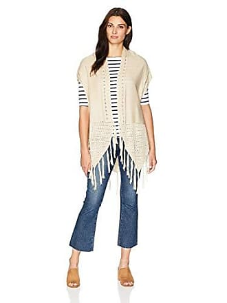 Oneworld Womens Poncho Fringe Sweater, Crème Brule Small