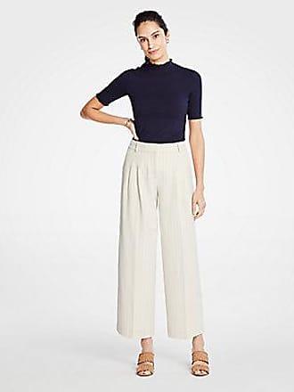 ANN TAYLOR Petite Stripe Pleated Wide Leg Crop Pants