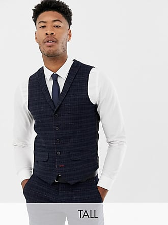 Harry Brown Tall - Marinblå och guldrutig kostymväst med smal passform - Blå 3850a7707303b