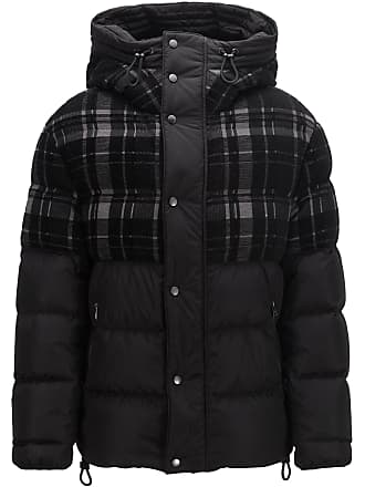 BOSS Hooded down puffa jacket with woven checked panel