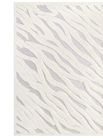 ModWay R-1155A-58 Current Abstract Wavy Striped 5x8 Shag Area Rug, Ivory and Light Gray