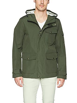2545ddf9430 Bass GH Mens Arctic Cloth Hooded Waterproof Mid Length Rain Jacket, Olive,  Medium