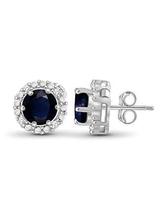 JewelersClub JewelersClub 2-1/2 Carat T.G.W. Sapphire and White Diamond Accent Sterling Silver Halo Earrings