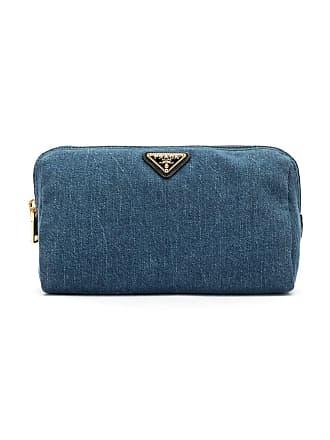 Prada Necessaire jeans com logo - Azul