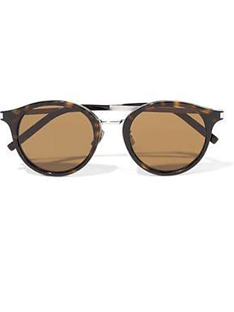 Saint Laurent Saint Laurent Woman Round-frame Tortoiseshell Acetate And Silver-tone Sunglasses Brown Size