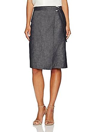 Ellen Tracy Womens Petite Size Faux Wrap Belted Skirt, Indigo Denim/Face 8P