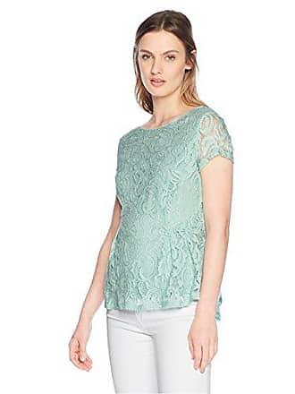 64744fa9e353c9 Adrianna Papell Womens Short Sleeve Peplum lace Blouse, Dusty Mint, Large.  USD $30.43