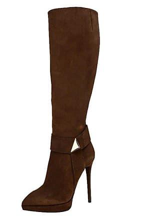 ba5a1c80e4f Giuseppe Zanotti Brown Suede Pyramid Stud Platform Knee Boots Size 37