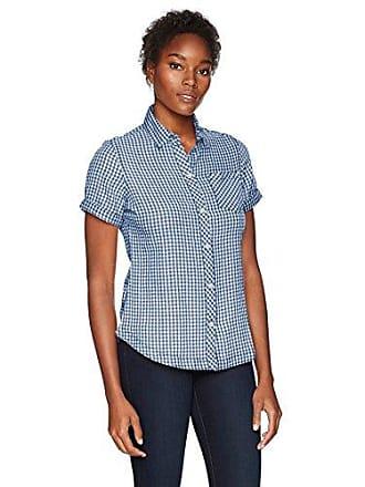 Woolrich Womens Northern Hills Short Sleeve Shirt, Bijou Blue, Large