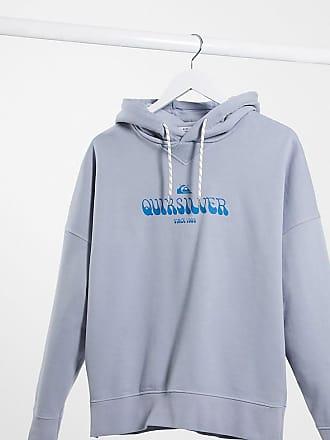 Quiksilver Felpa squadrata in pile blu slavato con cappuccio - In esclusiva per ASOS