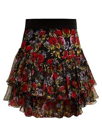 d76cc7e7b0 Dolce & Gabbana Floral Print Tiered Silk Blend Skirt - Womens - Black Multi