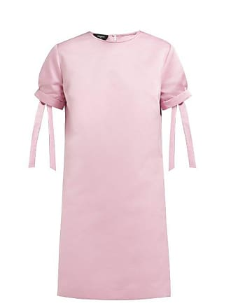 Rochas Tie Cuff Satin Mini Dress - Womens - Pink