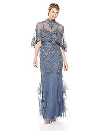 Aidan Mattox Womens Capelet Beaded Gown, Blue/Grey 2
