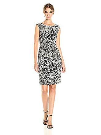 Anne Klein Womens Side Twist Knit Dress, Oyster Shell/Black Combo, 8