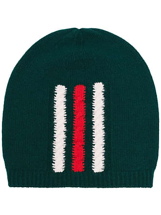1f68cbfb615 Gucci green web knitted wool beanie hat