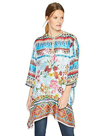 Johnny Was Womens Tab Sleeve Mandarin Collar Scarf Tunic, Multi, S