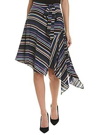 Nicole Miller Womens Flight Stripe Asymmetrical Skirt, Multi, M