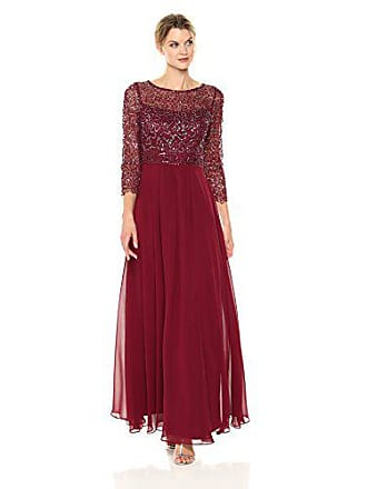 Decode 1.8 Womens Plus Size 3/4 Sleeve Beaded Illusion Dress, Dark red, 14W