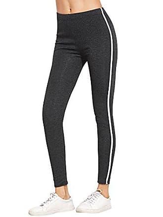 2ef2aa5af4282f TOMWELL Damen Sommer Elegant Elastizität Hose Gestreift Leggings Hohe  Taille Pants Casual Mode Slim Sporthose Grau