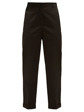 Rochas Turn Up Cuff Cotton Blend Trousers - Womens - Black