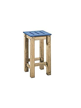 Manhattan Comfort CS102501 Stillwell Tall Wooden Backless Square Barstool, Blue/Natural Wood
