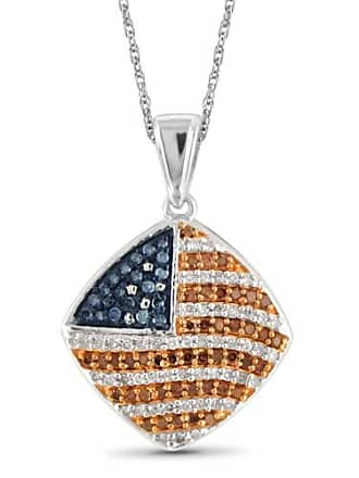 JewelersClub JewelersClub 1/3 Carat T.W. Multi-Color Diamond Sterling Silver American Flag Pendant, 18