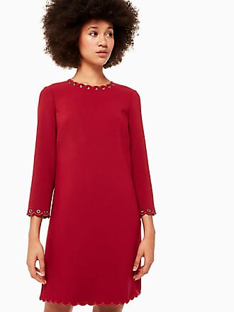 Kate Spade New York Scallop Grommet Shift Dress, Deep Russet - Size 14