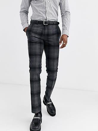Twisted Tailor Pantaloni da abito super skinny grigi a quadri grandi-Grigio