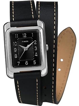 ab8c1fdf3 Timex Watch Womens Addison 25MM Double Wrap Leather Strap Silver-Tone/Black  Item Tw2R90000Za