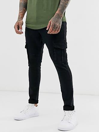 Brave Soul Jeans mit Utility-Taschen in Schwarz