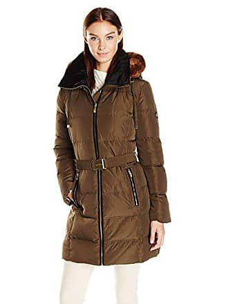 Calvin Klein Womens Down Belted Puffer Long Coat with Faux Fur Trimmed Hood, Loden, S