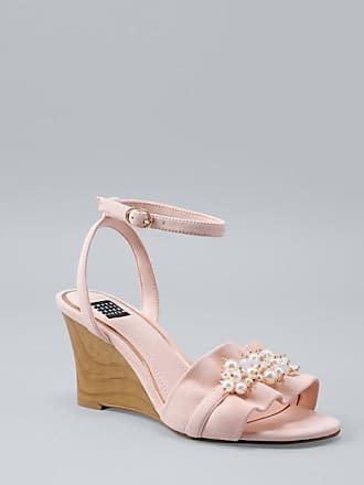 White House Black Market Womens Ruffled Wedge Sandals by White House Black Market, Pale Peach, Size 9.5