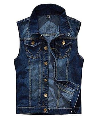 6607646536aad7 ShiFan Herren Einfache Beiläufige Jeans Weste Slim Fit Ärmellose Cowboy  Weste Zerrissene Jeansweste Dunkelblau XL