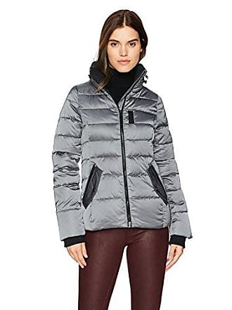 William Rast Womens High Stand Collar Quilted Jacket, Gun Metal, S