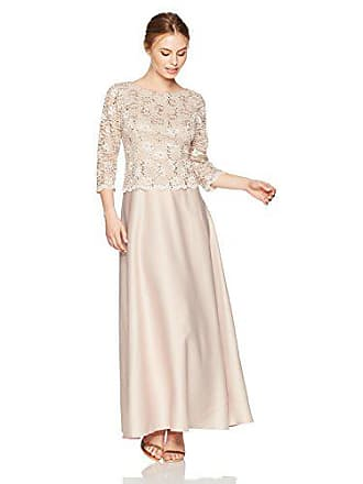 Alex Evenings Womens Long Mock Dress with Full Skirt (Petite and Regular Sizes), Taupe, 16P