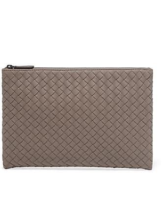 Bottega Veneta Intrecciatio Leather Pouch - Gray