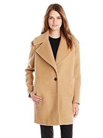 Kensie Womens Wool-Blend Cocoon Coat, Camel, Small