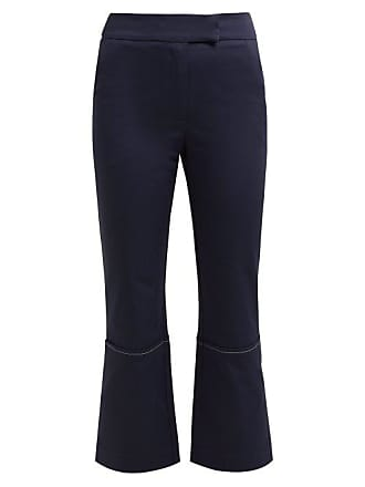 Zeus + Dione Aristo Cotton Blend Cropped Trousers - Womens - Navy