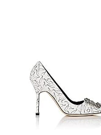 08eadc3f2c7e Manolo Blahnik Womens Hangisi 10th-Anniversary Love Pumps - White Leather  Size 5.5
