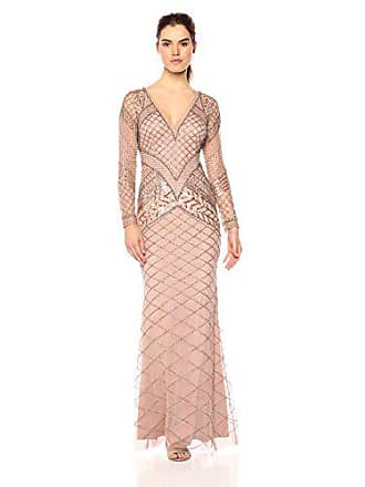 Adrianna Papell Womens Fully Beaded Long Dress, Rosegold, 8