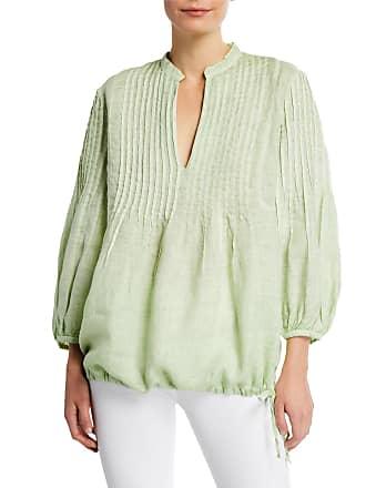 120% Lino 3/4-Sleeve Pintucked Linen Poet Shirt w/ Drawstring Hem