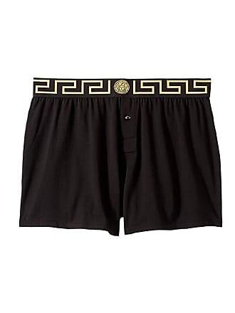 df6ac7f3 Versace Jersey Cotton Bielastic Boxer (Black/Gold/Greek Key) Mens Underwear