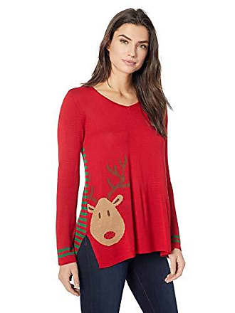 Oneworld Womens Reindeer Stripes Christmas Sweater, Ornament/red, Medium